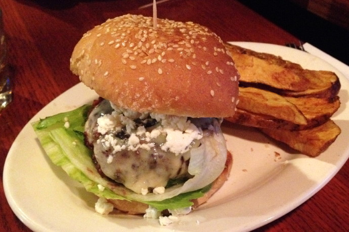 photo of feta and cheddar burger from R.F. O'Sullivan's, Somerville, MA
