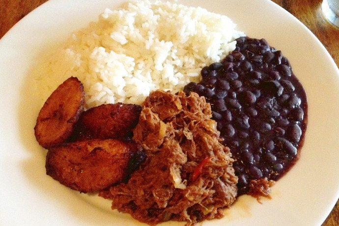 photo of pabellon criollo (a shredded beef dish) from Orinoco, Brookline, MA