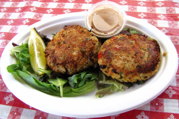 photo of crab cakes from P.J.'s Family Restaurant, Wellfleet, MA