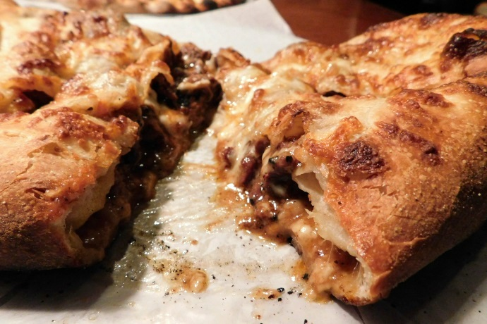 photo of steak and cheese calzone from the Pearl Street Station Restaurant, Malden, MA