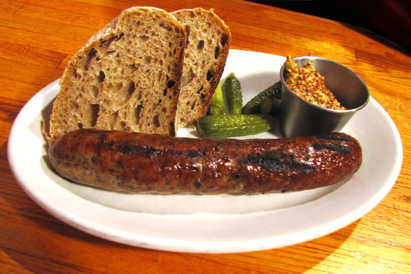 photo of bratwurst from the People's Pint, Greenfield, MA