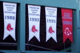 Photo of banners at Fenway Park, home of the Boston Red Sox