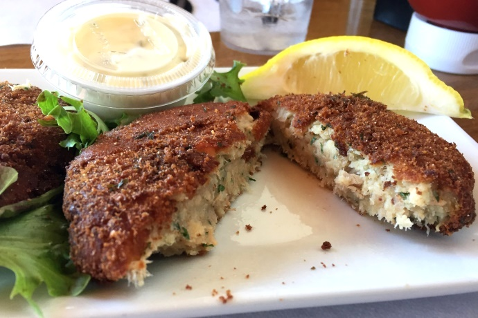 photo of fish cakes from Roy Moore's Fish Shack Restaurant, Rockport, MA