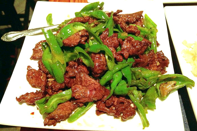 photo of beef with green peppers from Shanghai Gate, Allston, MA