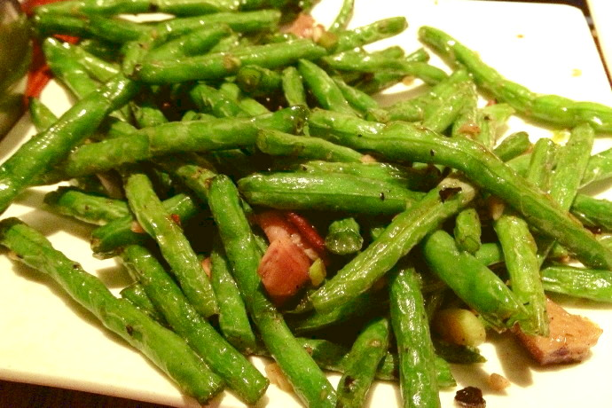 photo of string beans in garlic sauce from Shanghai Gate, Allston, MA