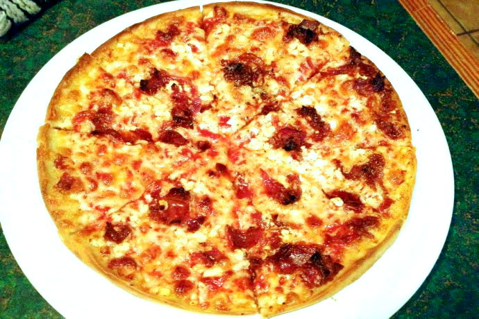 photo of bacon and feta pizza from Spencer's Pizza, Abington, MA