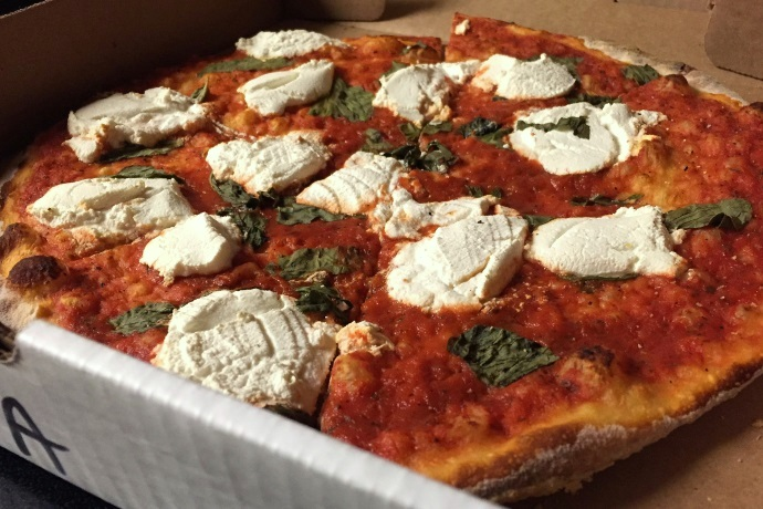photo of margherita pizza from Stella's, Watertown, MA