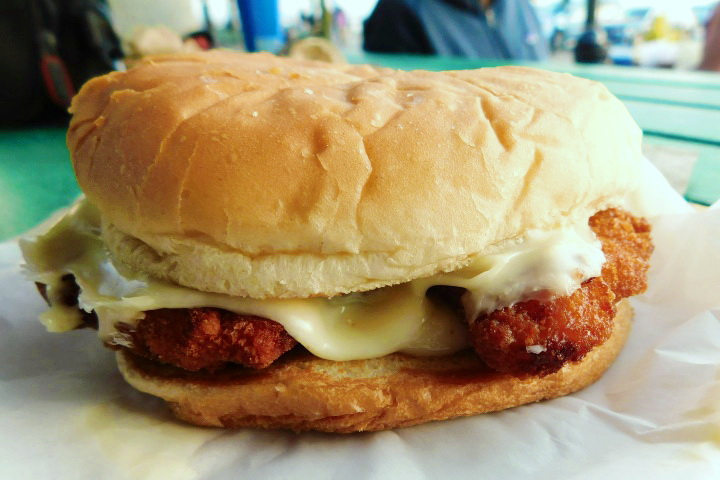 photo of fried chicken sandwich from Sullivan's, South Boston, MA