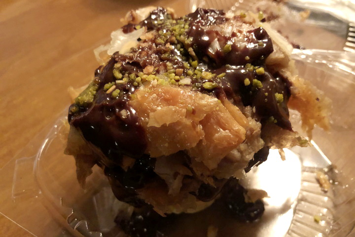 photo of baklava cheesecake from Taso's Euro Cafe in Norwood, MA