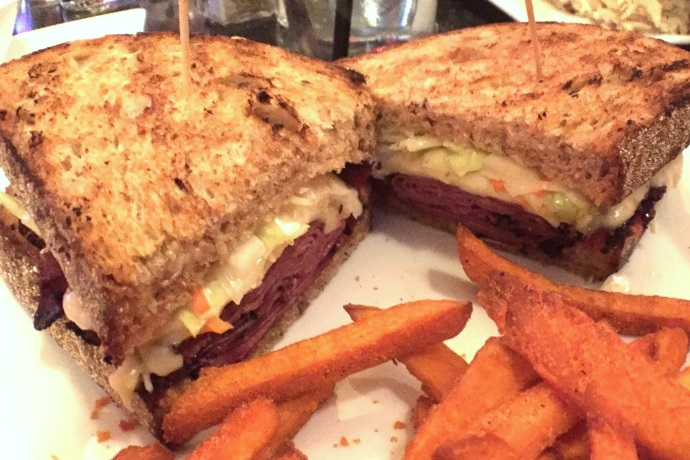 photo of black pastrami sandwich from Telegraph Hill, South Boston, MA