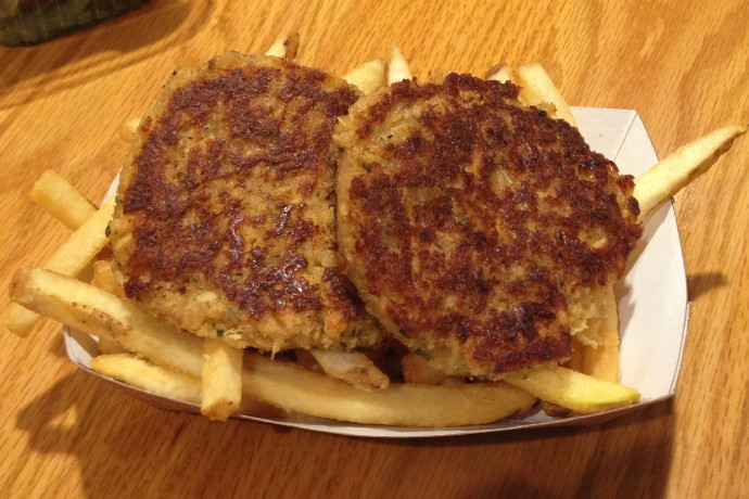 photo of crab cakes from Tony's Clam Shop, Quincy, MA