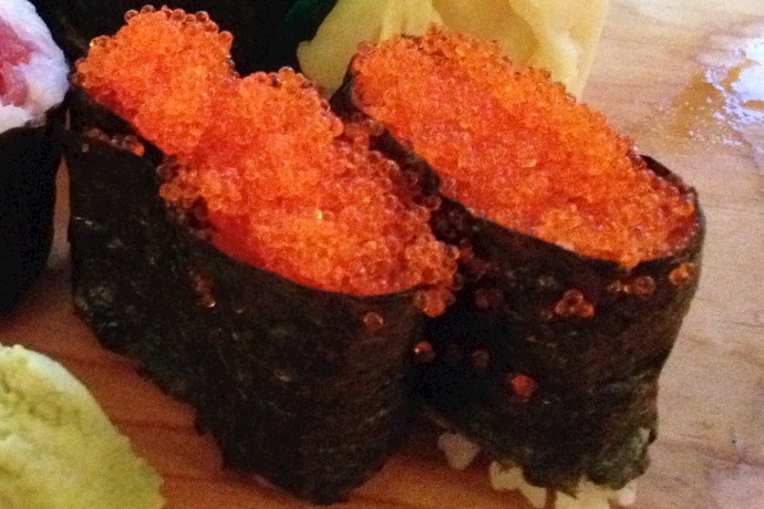 photo of flying fish roe sushi from Toraya, Arlington, MA