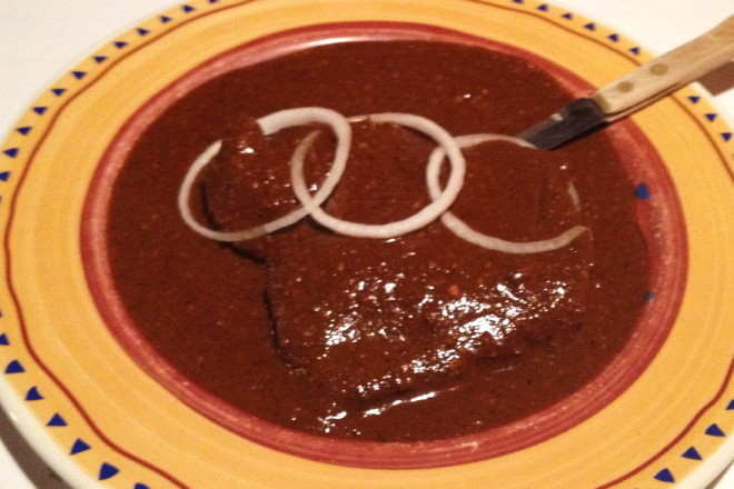 photo of Mole Colorado Tlaxcalteca (chicken in red mole sauce) from Tu Y Yo, Somerville, MA