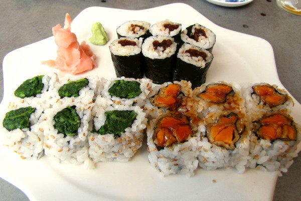 photo of a maki plate (spinach, Japanese squash, and sweet potato) from Village Sushi and Grill, Roslindale, MA