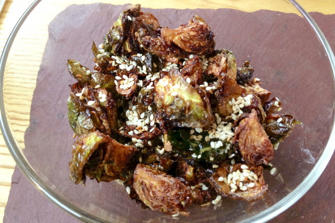 photo of fried Brussels sprouts in sesame/ginger sauce from When Pigs Fly Pizzeria, Kittery, ME
