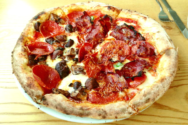 photo of pepperoni, coppa, and mushroom pizza from When Pigs Fly Pizzeria, Kittery, ME